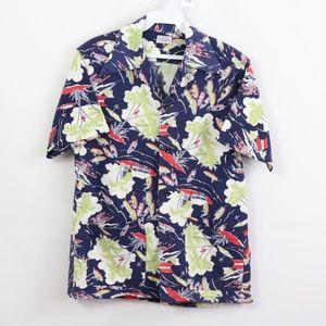 60s Mens Small Double Pocket Floral Hawaiian Shirt